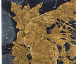 """Transit of Venus: Phase 2 Gestation"" mixed media with cyanotype on paper, 41""x26.25"""