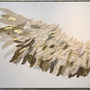 """Rara Avis"" 2019, silk and paper on linen, framed, 48""x60"""