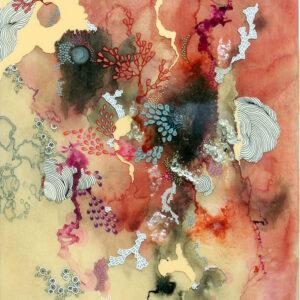 "'Alegria I' 2020, archival ink, iridescent powder, resin, 16""x20"""