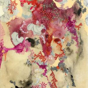 "'Alegria II' 2020, archival ink, iridescent powder, resin, 16""x20"""