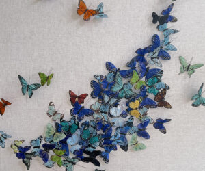 """'Untitled (Blue Butterflies)' 2020, Hand painted feathers on linen panel with acrylic enclosure, 36x36"""""""
