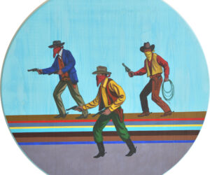 """Outlaw Disco"" Acrylic on birch, 24"" diameter, 2020"