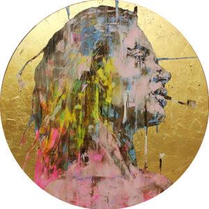 "Marcella 59.75"" dia. oil & gold leaf on aluminum 2019"
