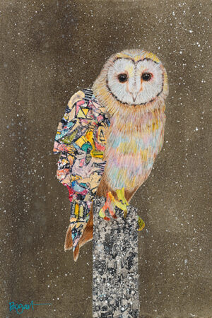 """""""Barn Owl On A Snowy Night #3"""" Drawing, Collage or other Work on Paper, 37""""x30"""" • SOLD"""