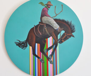 """""""Giant of the West"""" Acrylic on birch, 40"""" in diameter, 2020 • SOLD"""