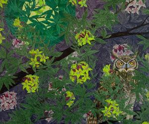 """Great Horned Owl in Western Azalea,"" 2021 Mixed Media Aquatint etchings and acrylic, 40""x30"""
