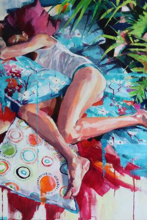"""""""Siesta"""" Oil, acrylic, and spray paint on canvas, 40""""x40"""""""