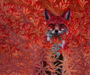 """""""Red Fox,"""" 2021 Mixed Media Aquatint etchings and acrylic, 24""""x18"""" •SOLD"""