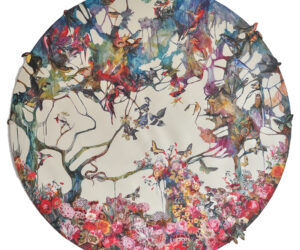 """""""Rounded Forest #4,"""" 50"""" diameter collage and acrylic on canvas 2021 • SOLD"""