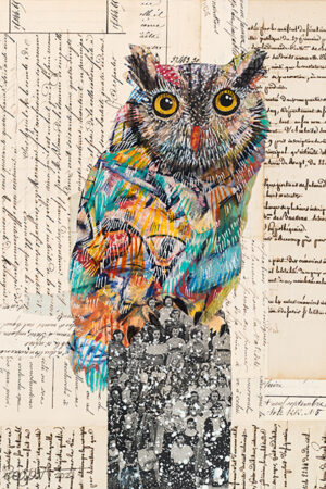 """""""Screech Owl #8"""" Collage and Paint, natural wood float frame, 17.5""""x13.5"""" • SOLD"""