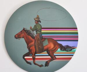 """Serape"" Acrylic on birch, 40"" in diameter, 2020 • SOLD"