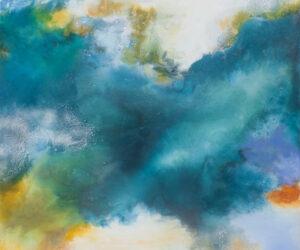"""Spring Awakening"" Mixed media on polyester canvas, 36""x36"", 2021"
