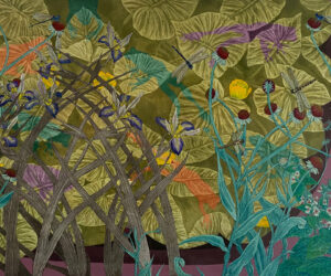 """""""Frogs and Dragonflies,"""" 2021 Mixed Media Aquatint etchings and acrylic, 18""""x24"""""""
