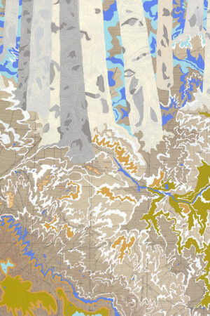 """""""Rivers Feed the Trees #455"""" 13.5""""x17"""", Acrylagouache on old topo maps, mounted on wood panel, 2021"""