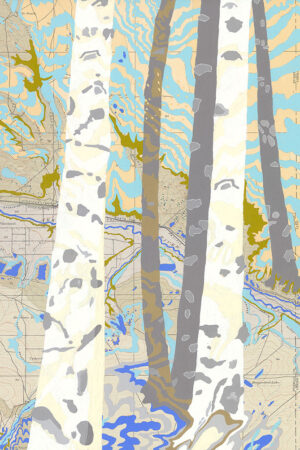 """""""Rivers Feed the Trees #457"""" 13.5""""x17"""", Acrylagouache on old topo maps, mounted on wood panel, 2021"""