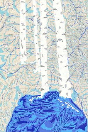 """""""Rivers Feed the Trees #467"""" 13.5""""x17"""", Acrylagouache on old topo maps, mounted on wood panel, 2021"""