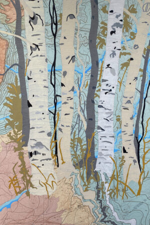 """""""Rivers Feed the Trees #465"""" 13.5""""x17"""", Acrylagouache on old topo maps, mounted on wood panel, 2021"""