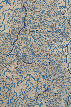 """""""Rivers Feed the Trees #472"""" 13.5""""x17"""", Acrylagouache on old topo maps, mounted on wood panel, 2021"""