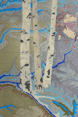 """""""Rivers Feed the Trees #466"""" 13.5""""x17"""", Acrylagouache on old topo maps, mounted on wood panel, 2021"""