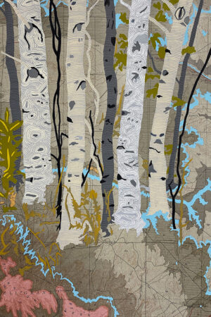 """""""Rivers Feed the Trees #459"""" 13.5""""x17"""", Acrylagouache on old topo maps, mounted on wood panel, 2021"""