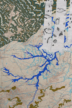 """""""Rivers Feed the Trees #460"""" 13.5""""x17"""", Acrylagouache on old topo maps, mounted on wood panel, 2021"""