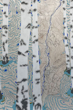 """""""Rivers Feed the Trees #470"""" 13.5""""x17"""", Acrylagouache on old topo maps, mounted on wood panel, 2021"""