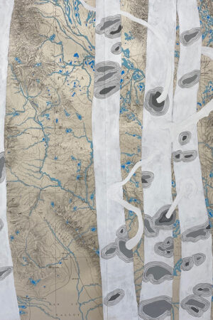 """""""Rivers Feed the Trees #475"""" 21""""x33"""", Acrylagouache on old topo maps, mounted on wood panel, 2021"""