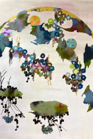 """Root Ball,"" Walnut ink, silk paint, Vandyke print, on textile, acrylic on canvas, waxed, mounted on panel, 49"" x 38.5.""  2021"