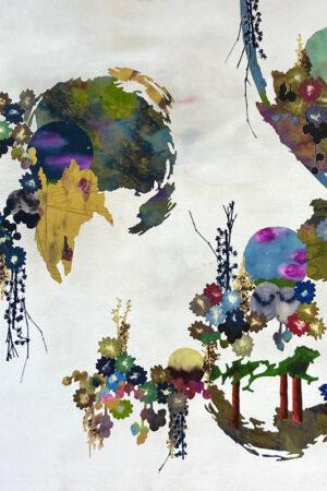 """Tree Sails,"" Walnut ink, silk paint, Vandyke print, on textile, acrylic on canvas, waxed, mounted on panel, 40.5"" x 59.""  2021"
